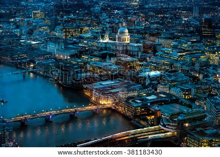 London Night. Includes River Thames, London Bridge, St Paul's Cathedral - stock photo