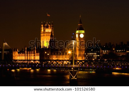 London night view, House of Parliament, seen from Waterloo Bridge. - stock photo