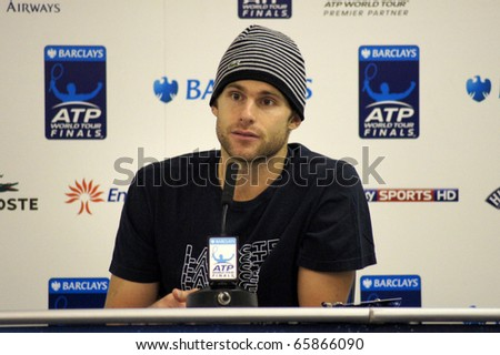 LONDON - NOV 22: Andy Roddick After Game Conference At The ATP World Tour November 22, 2010 O2 Building, Central London, England. - stock photo
