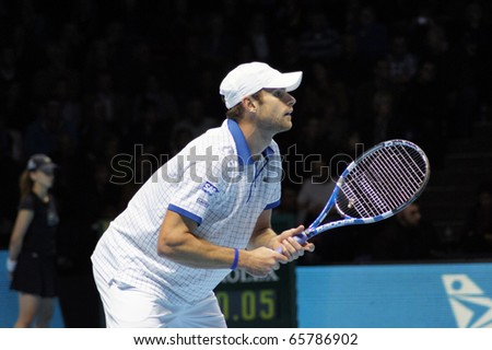 LONDON - NOV 22: Andy Roddick At The ATP World Tour November 22, 2010 O2 Building, Central London, England. - stock photo