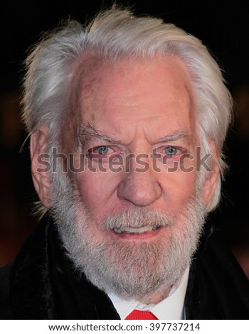LONDON - NOV 5, 2015: Donald Sutherland attends The Hunger Games: Mockingjay - Part 2 - UK film premiere on Nov 5, 2015 in London