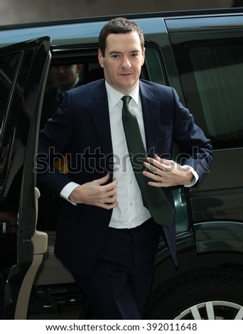 LONDON - NOV 22, 2015: George Osborne MP, British Conservative Party politician  attends the BBC Andrew Marr Show at the BBC on Nov 22, 2015 in London