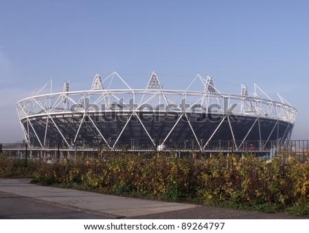 LONDON- NOV 21: 2012 London olympic stadium  at the site in stratford city, London, nov 21, 2011. - stock photo