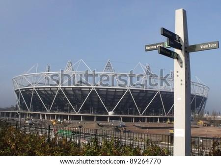 LONDON- NOV 21: 2012 London olympic stadium nears completion at the site in stratford, London, nov 21, 2011. - stock photo