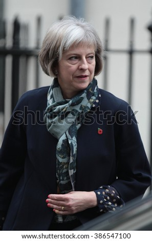 LONDON - NOV 3, 2015: Secretary of State for the Home Department Theresa May seen at 10 Downing Street on Nov 3, 2015 in London - stock photo
