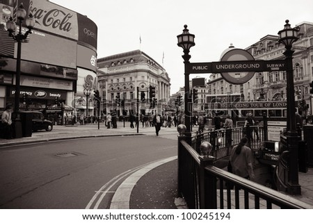 LONDON - NOV 6: View of Piccadilly Circus, road junction, built in 1819, famous tourist attraction, links to West End, Regent Street, Haymarket, Leicester Square, on Nov 6, 2010 in London, UK. - stock photo
