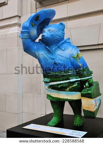 LONDON - NOVEMBER 4. A decorated model of Michael Bond's fictional character Paddington Bear, on November 4, 2014, for later charity auction; one of 50 designs located across London.
