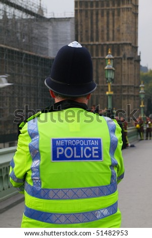 LONDON - NOVEMBER 11: A person has made an attempt to jump from Westminster bridge in central London. Police and fire crews where at the scene. November 11, 2009 in London, United Kingdom - stock photo