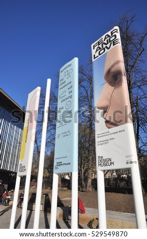 LONDON - NOVEMBER 28, 2016. Advertising banners promote the first shows at the new Design Museum, transformed from the former 1962 Commonwealth Institute at Kensington, London, UK.