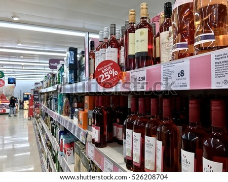 LONDON - NOVEMBER 29: Alcohol stocked in the aisles of Sainsbury's Supermarket at the O2 Centre Finchley Road on November 29, 2016 in London, UK.