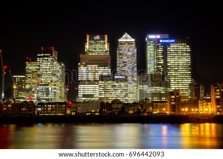LONDON, NOVEMBER 2, 2016: Canary Wharf, London from the South side of the River Thames at Night.