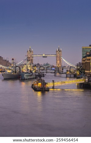 LONDON - November 29 : illuminated tower bridge evening time 29 November 2014 LONDON.UK - stock photo