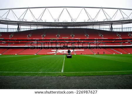 LONDON NOVEMBER 16: Lawnmower on the Emirates stadium on November 16th, 2012 in London, UK