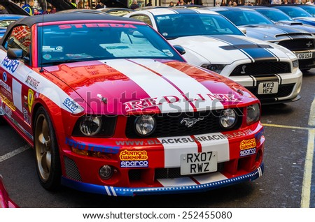 LONDON - November  01 : Regent street motor show - exhibition of mustangs and shelbyes. 1st November 2014 LONDON.UK