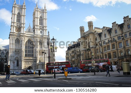 LONDON - NOVEMBER 2: The Westminster Abbey and Westminster Abbey Choir School, November 2, 2012. - stock photo