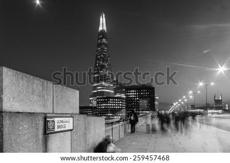 LoNDON - November 29 :View at the shard  from tower bridge, 29 November 2014 LONDON.UK - stock photo