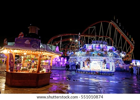 London - November 21, 2016: Winter Wonderland is an amusement park in Hyde Park which is held every Christmas.