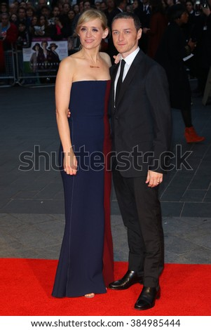 LONDON - OCT  7, 2015: Anne Marie Duff and James McAvoy attend the Suffragette film premiere and gala opening night, 59th BFI London Film Festival on Oct 7, 2015 in London - stock photo