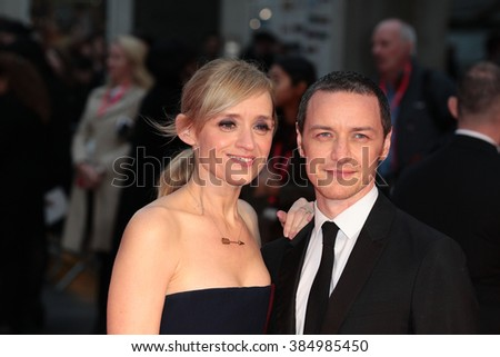 LONDON - OCT  7, 2015: Anne Marie Duff and James McAvoy attend the Suffragette film premiere and gala opening night, 59th BFI London Film Festival on Oct 7, 2015 in London