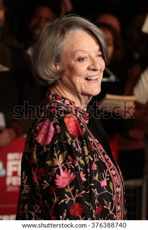 LONDON - OCT 13, 2015: Dame Maggie Smith attends The Lady In The Van premiere, 59th BFI London Film Festival on Oct 13, 2015 in London - stock photo