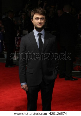 LONDON - OCT 17, 2013: Daniel Radcliffe attends the Kill Your Darlings screening during the 57th BFI Film Festival on Oct 17, 2013 in London - stock photo