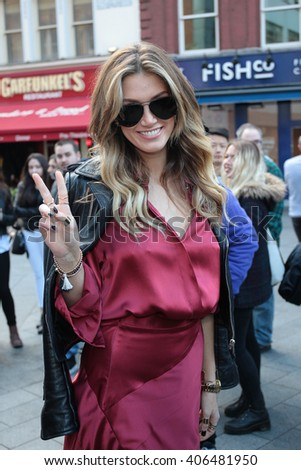 LONDON - OCT 8, 2015: Delta Goodrem seen at Global House on Oct 8, 2015 in London - stock photo