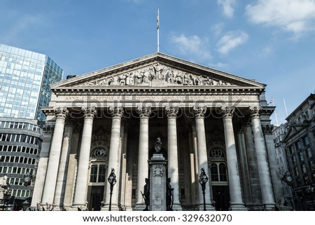 LONDON - 04 OCT 2015: Facade of The Royal Exchange, Bank