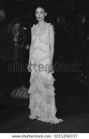 LONDON - OCT 14, 2015: ( Image digitally altered to monochrome ) Rooney Mara attends the Carol premiere, 59th BFI London Film Festival in London