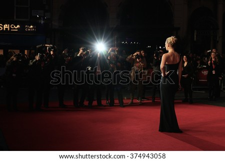 LONDON - OCT 18, 2015: Kate Winslet attends the Steve Jobs premiere and closing night gala, 59th BFI London Film Festival at the Odeon Leicester Square on Oct 18, 2015 in London - stock photo
