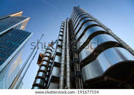 LONDON - OCT 11 2010: Lloyd's building and Willis building in London. - stock photo