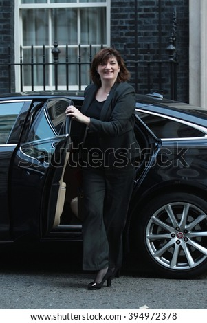 LONDON - OCT 13, 2015: Nicky Morgan seen at Downing Street on Oct 13, 2015 in London