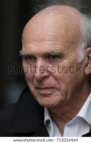 LONDON - OCT 29, 2017: Sir Vince Cable Leader of the Liberal Democrats seen arriving to the BBC for the Andrew Marr Show
