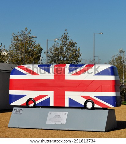 LONDON - OCTOBER 27. London celebrates the importance of its buses with decorative bus models on October 27, 2014; this one painted with the Union Jack flag by Kristel Movahed in east London, UK. - stock photo