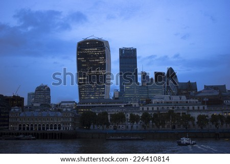 London - 17 October 2014: London skyline at night, UK. - stock photo