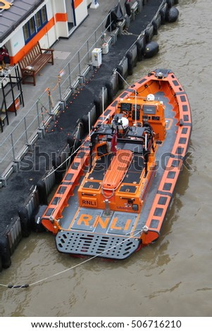 London, October 30th 2016 - The Brawn Challenge - a lifeboat operated by the Royal National Lifeboat Institution is moored on the north bank of the River Thames in London