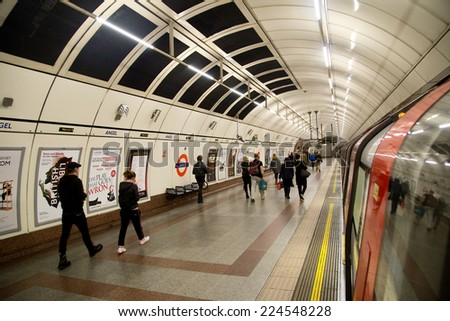 LONDON - OCTOBER 18TH: The interior of Angel station on October 18th, 2014 in London, england, uk. The london underground is the oldest underground system in the world. - stock photo
