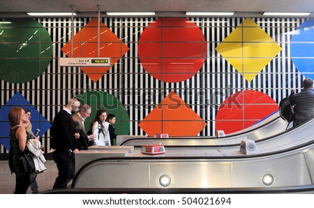 LONDON - OCTOBER 15, 2016. The Charing Cross Road exit of the redeveloped Tottenham Court Road underground station located in central London, UK.