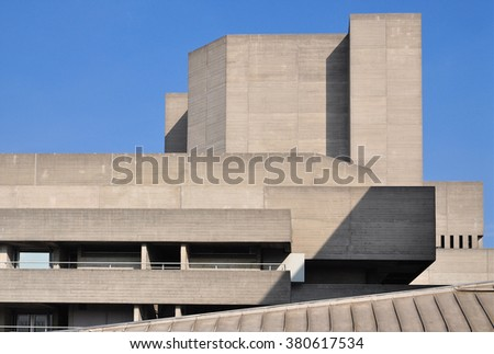 LONDON - OCTOBER 4, 2015. The Royal National Theatre designed by Denys Lasdun and completed in 1977 is one of the most notable examples of Brutalist design, located at the Southbank in London, UK.