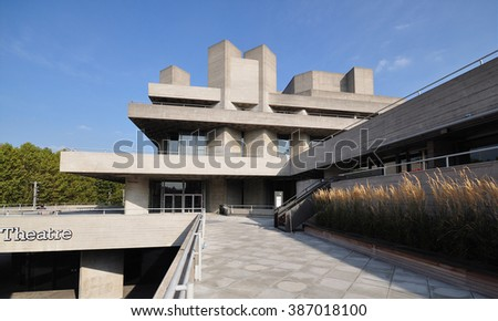 LONDON - OCTOBER 4, 2015. The Royal National Theatre designed by Denys Lasdun and completed in 1977 is one of the most notable examples of Brutalist design, located at the Southbank in London, UK. - stock photo