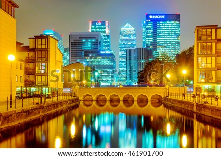LONDON - OCTOBER 24: This is a residential area of modern flats within Canary wharf financial district you can see banking headquarters in the distance on October 24th, 2016 in London
