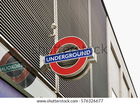 London, October 14, 2014: Underground sign in London; the London Underground is a public rapid transit system serving Greater London and some parts of the adjacent counties.