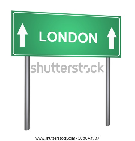 London on road sign isolated on withe