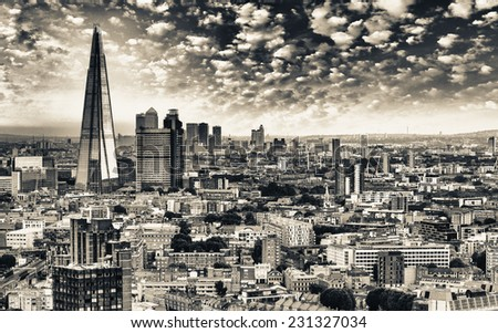 London. Panorami aerial view of city skyline at dusk. - stock photo