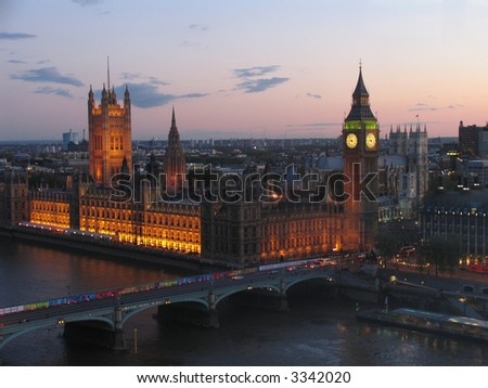 London Parliament from the London Eye at night - stock photo