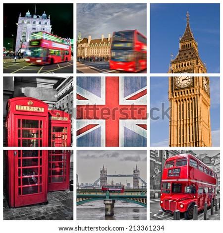 London photos collage - stock photo