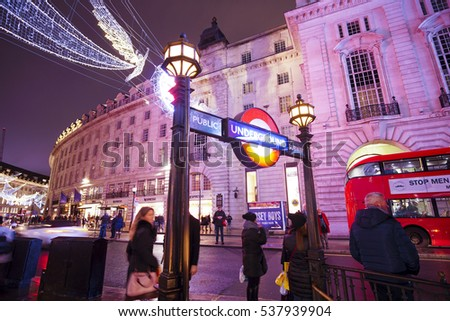 London Piccadilly Circus Station at Regent Street in London - LONDON / ENGLAND - DECEMBER 10, 2016
