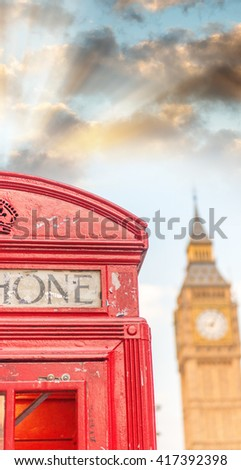 London public phone booth with Big Ben. - stock photo