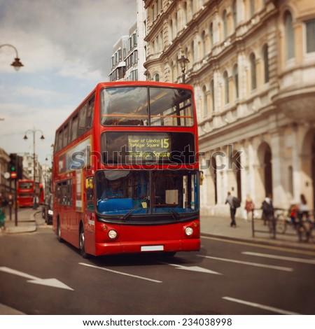 London red bus. Tilt shift lens. - stock photo