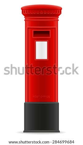 london red mail box illustration isolated on white background