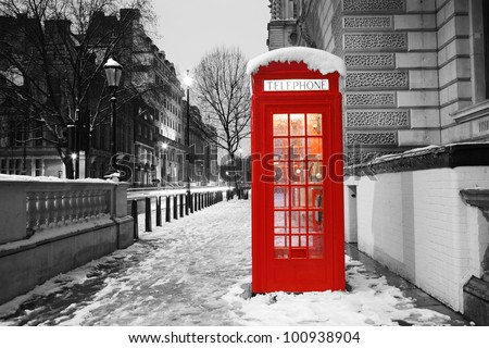 London Red Telephone Booth at dawn - stock photo